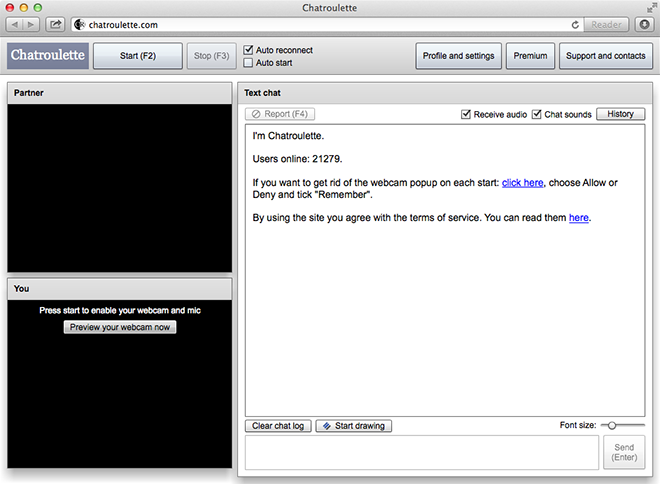 Chatroulette screenshot