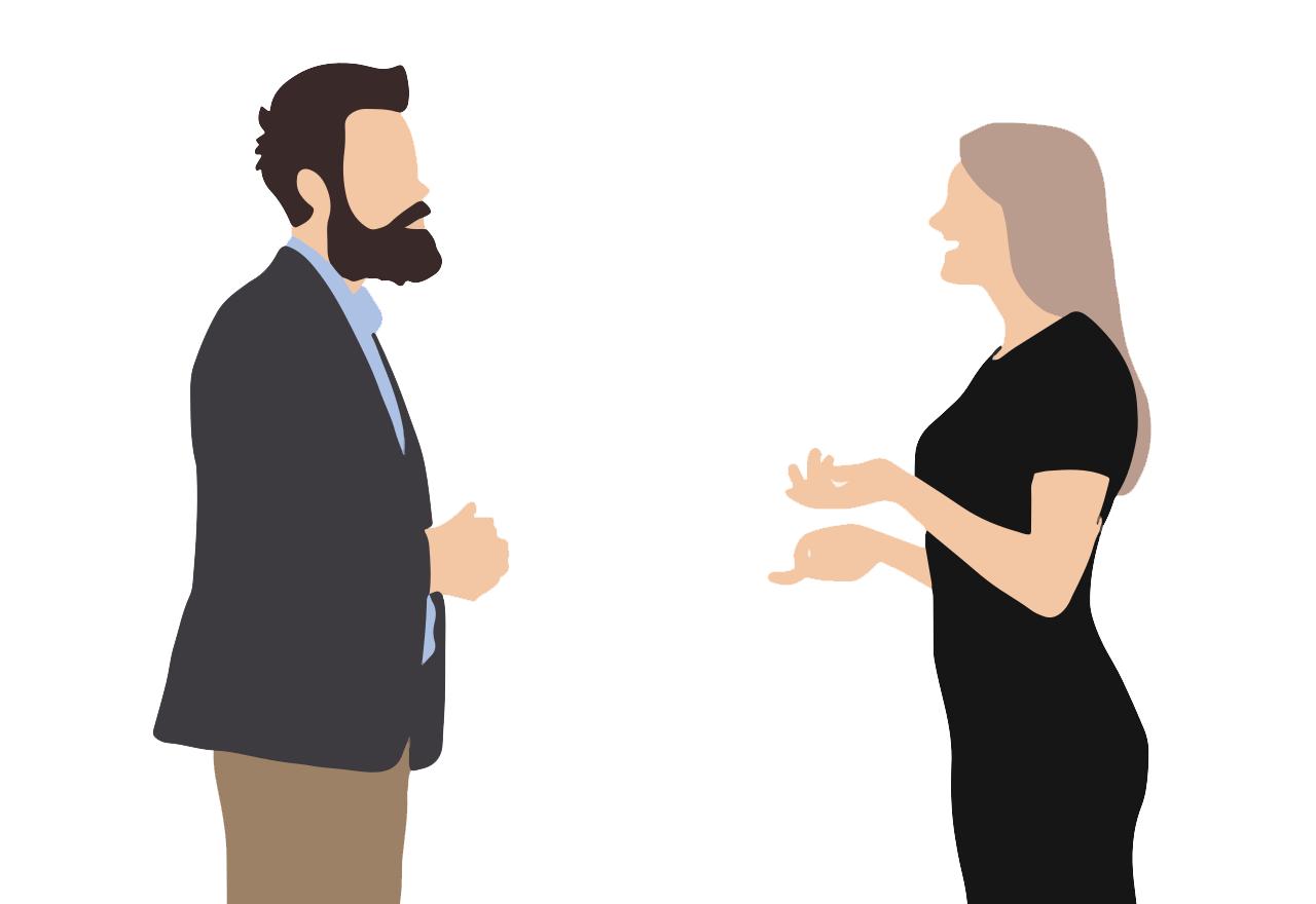man vrouw praten