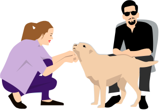 man vrouw hond